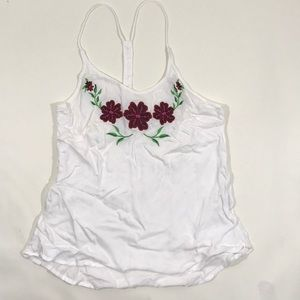 Tops - White Embroidered Flowers Race Back Top Medium